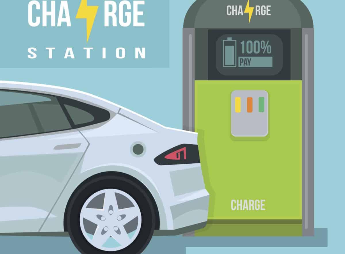 Electric car. Charging station. eMobility. EV Charging
