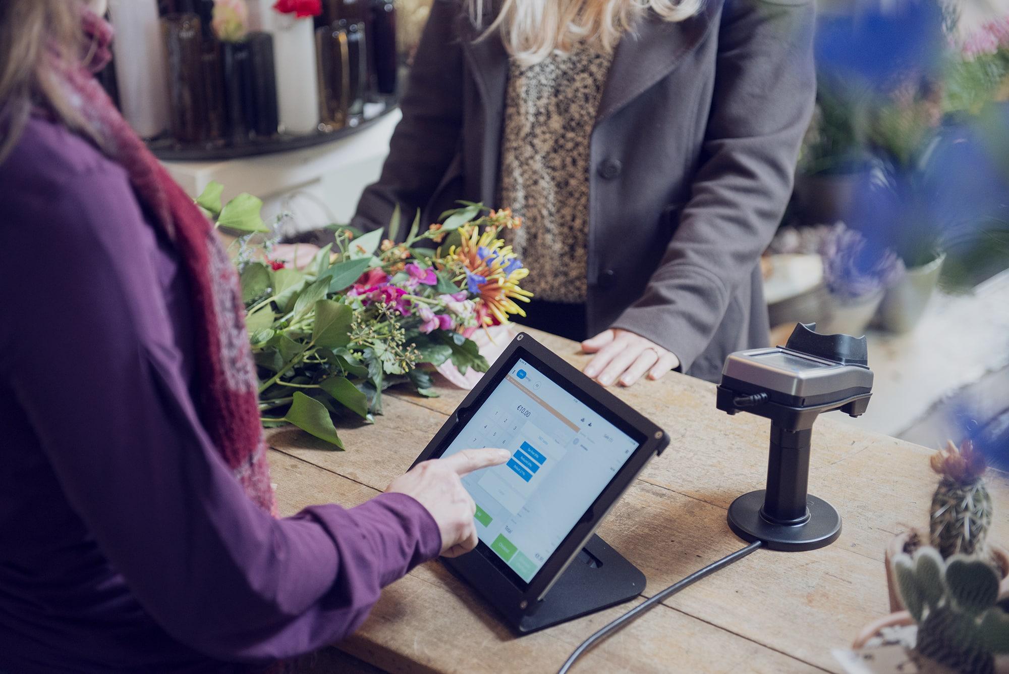 salespoint in gebruik in bloemenwinkel