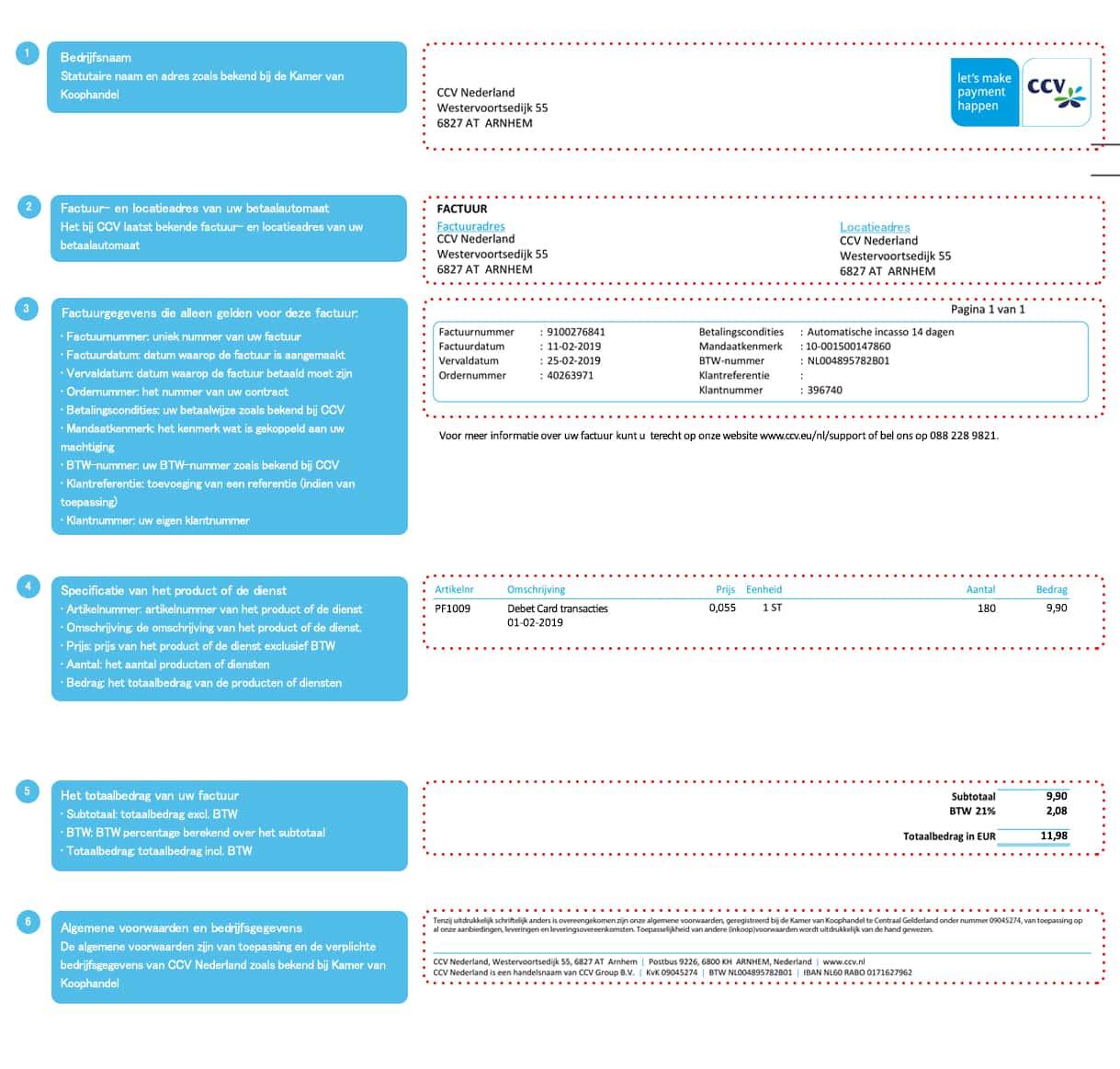 factuur voor Nieuwe factuur voor de transacties op uw betaalautomaat   CCV NL